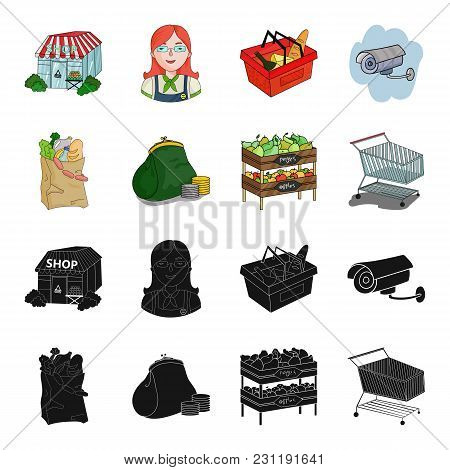 Sausages, Fruit, Cart .supermarket Set Collection Icons In Black, Cartoon Style Vector Symbol Stock