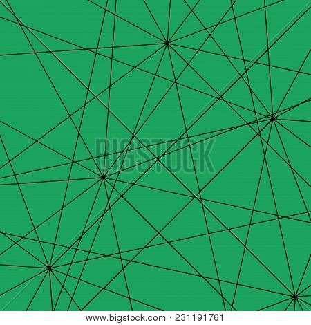 Black Intersecting Straight Lines On An Emerald Background. Pattern Of Triangles For The Decoration