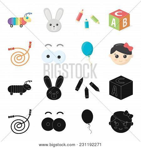 Children S Toy Black, Cartoon Icons In Set Collection For Design. Game And Bauble Vector Symbol Stoc