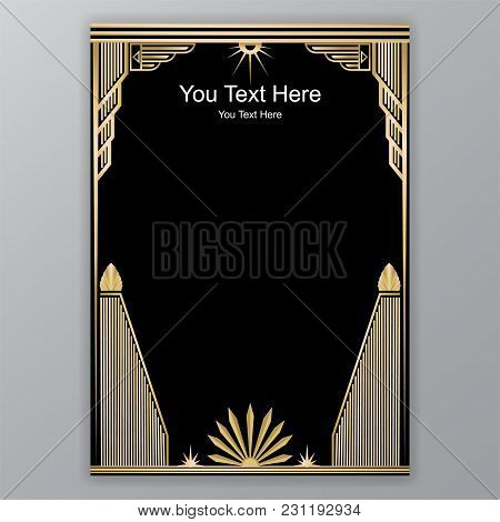 Art Deco Template Golden-black, A4 Page, Menu, Card, Invitation,antique In  Artdeco/art Nuvo Style,