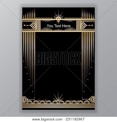 Art Deco Template Golden-black, A4 Page, Menu, Card, Invitation, Moon And Stars In Artdeco/art Nuvo