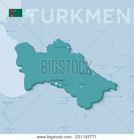 3d Verctor Map Of Cities And Roads In Asia. Turkmenistan And Its Neighbors.