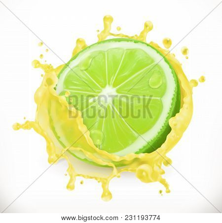 Lime Juice. Fresh Fruit, 3d Vector Icon