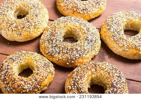 Homemade New York Bagels On Rustic Background