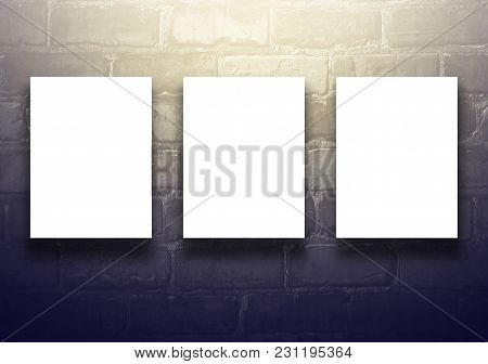 Studio Background With Empty Billboard On Black Brick Wall - Well Use For Present Products. Vintage