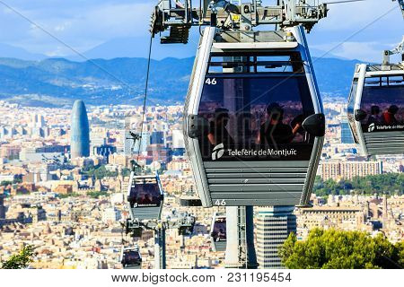 Barcelona, Spain - May 29, 2016: Montjuic Funicular, Panaramic View Of Barcelona, Skyscraper Tower A