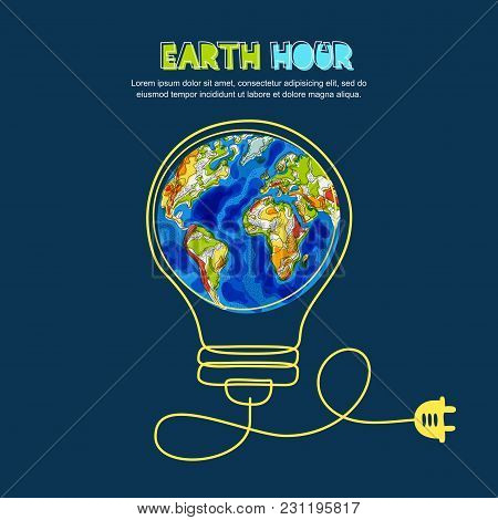 Energy Saving, Earth Hour Concept. Vector Illustration Of Earth Planet In Light Bulb. Renewable Ener
