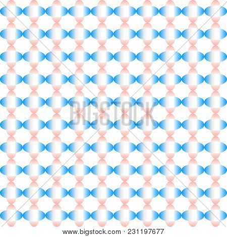 Abstract Colorful Ellipse Shapes Pattern Of Gradient Blue And Pink On White Background. Vector Illus