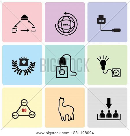 Set Of 9 Simple Editable Icons Such As Customer Acquisition, Alpaca, Low Carb, Junction Box, Junctio