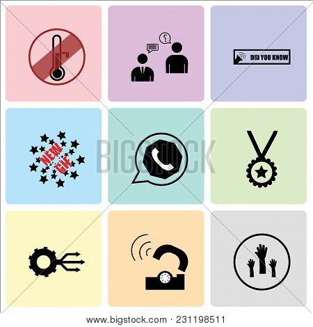 Set Of 9 simple editable icons such as get involved, telco, multi channel, perks, whatsapp, new gif, did you know, consulting, antifreeze, can be used for mobile, web UI poster