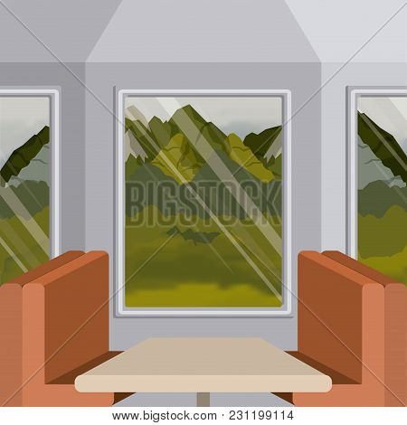 Background Interior Train With A Passenger Compartment And Landscape Scenary Outside Vector Illustra