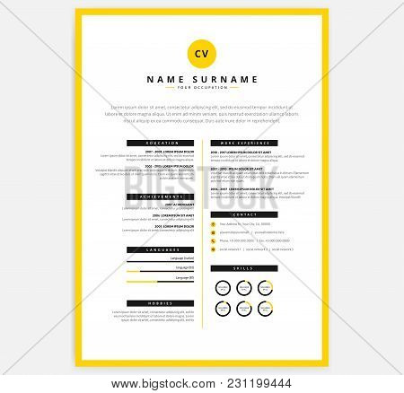 Yellow Black Cv Resume Template - Vector Curriculum Vitae Sample