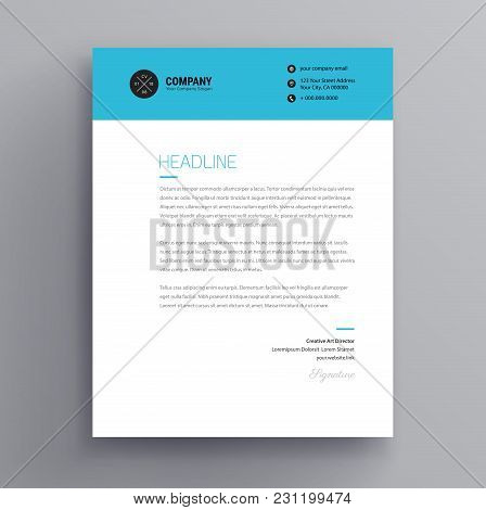Elegant Letterhead / Cover Letter Template Design In Minimalist Style - Blue Color Header - Vector D