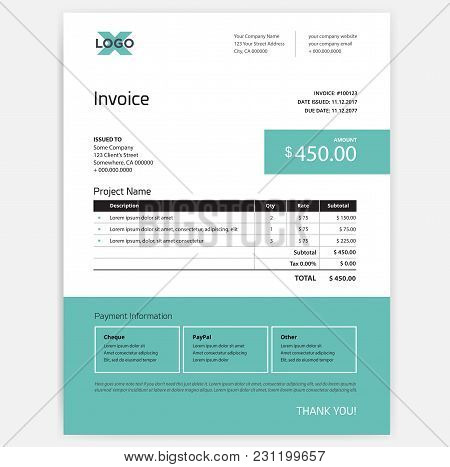 Invoice Form Design Template - Teal Green And White Color Scheme - Vector