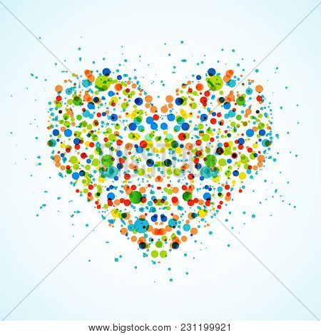 Funny Dots Heart Creative Abstract Illustration. Vector Background About Love