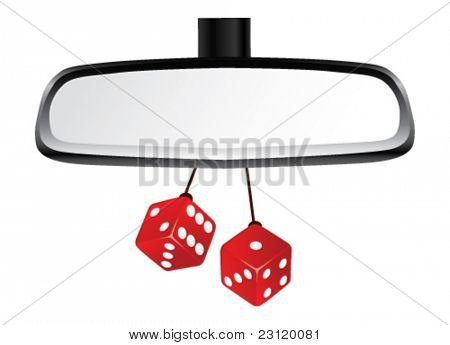 Isolated Rear View mirror with pair of red dices. Vector Illustration.