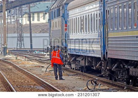 Kharkiv, Ukraine - March 23, 2012: Railways Passenger Train In Kharkiv Passenger Railway Station. Pa