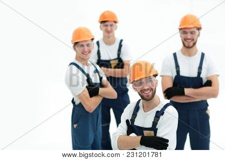 closeup.the foreman and construction team