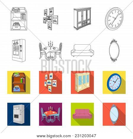 Coffee Maker, Served Table In The Restaurant And Other  Icon In Outline, Flet Style Isometric.soft C