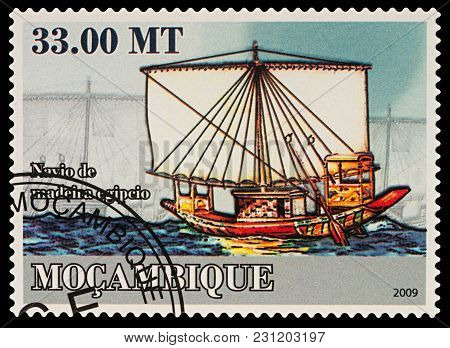 Moscow, Russia - March 14, 2018: A Stamp Printed In Mozambique Shows Ancient Egyptian Wooden Ship, S