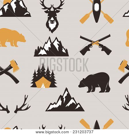 Outdoor Tourist Travel Scout Badges Template Emblem Vector Illustration Collection Seamless Pattern
