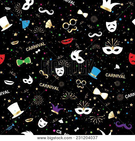 Handmade Venetian Vector Carnival Face Mask Party Decoration Masquerade Seamless Pattern Background