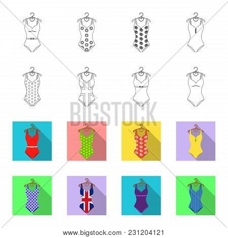 Different Kinds Of Swimsuits. Swimsuits Set Collection Icons In Outline, Flet Style Vector Symbol St