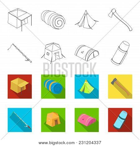 Spinning For Fishing, Tent, Thermos.tent Set Collection Icons In Outline, Flet Style Vector Symbol S