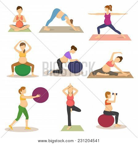 Fitness Pregnancy Vector Pregnant Woman Character Does Yoga Or Exercises With Fitball Illustration S