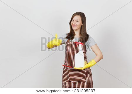Housewife In Yellow Gloves Striped Apron Cleaning Rag Squeegee In Pocket Isolated On White Backgroun