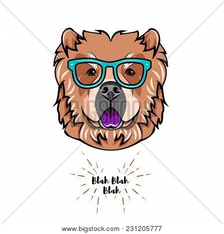 Chow Chow Dog Wearing In Smart Glasses. Dog Geek. Vector Illustration Isolated On White Background.