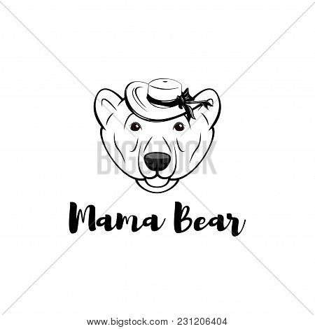 Mama Bear. Mothers Day Greeting Card In Cartoon Style With Bear In Wide-brimmed Hat. Vector Illustra