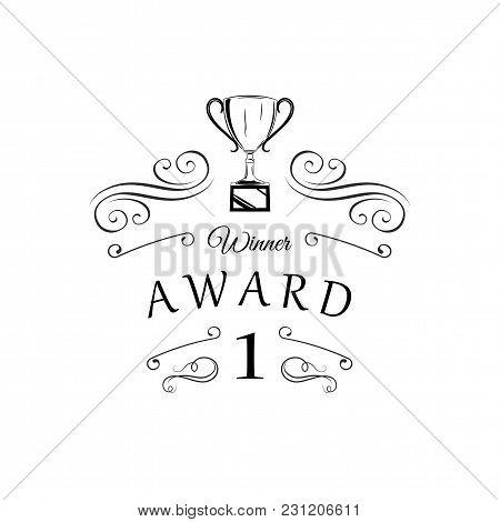 Trophy Winner Cup. Swirls, Filigree Flourish Ornate Frame. First Place, Winner Award. Reward. Prize