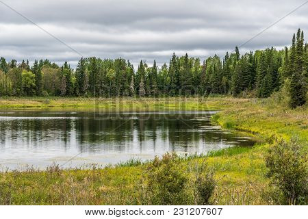 Forest Lake In Superior Lake Provincial Park In The Fall.