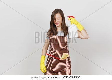 Young Fun Housewife In Yellow Gloves, Striped Apron, Cleaning Rag, Squeegee In Pocket Isolated On Wh