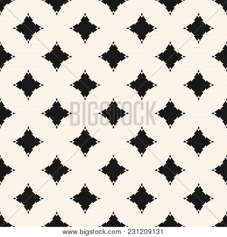 Vector Seamless Pattern With Curved Diamond Shapes, Stars, Rhombuses. Simple Black And White Geometr
