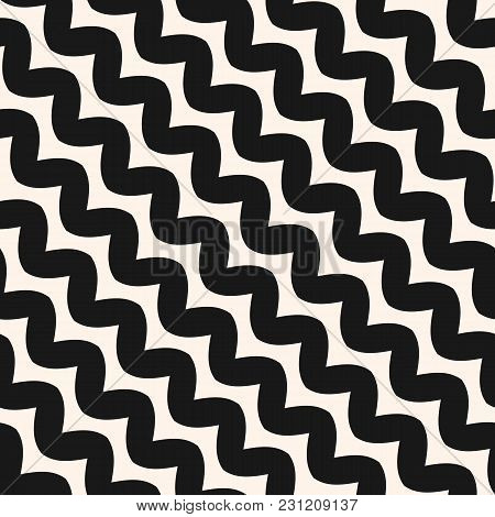 Diagonal Wavy Lines Seamless Pattern. Vector Abstract Monochrome Geometric Striped Background. Simpl