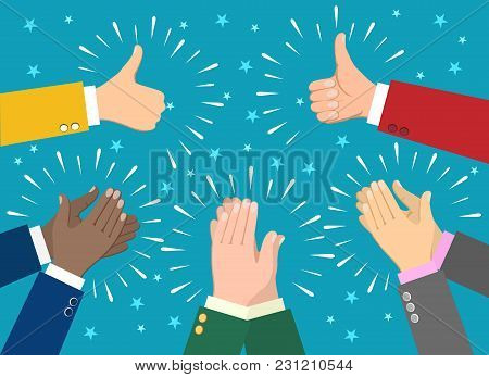 Hand Claps. Clapping Businessman Hands Vector Illustration, Human Ovation Celebrating Applause