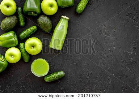 Cucumber, Pepper, Apple, Celeriac. Vegetables For Greeny Organic Smoothy For Sport Diet On Dark Tabl