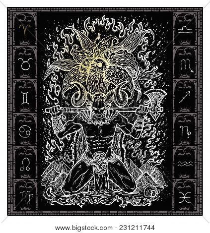 White Silhouette Of Fantasy Zodiac Sign Aries In Gothic Frame On Black. Hand Drawn Engraved Illustra