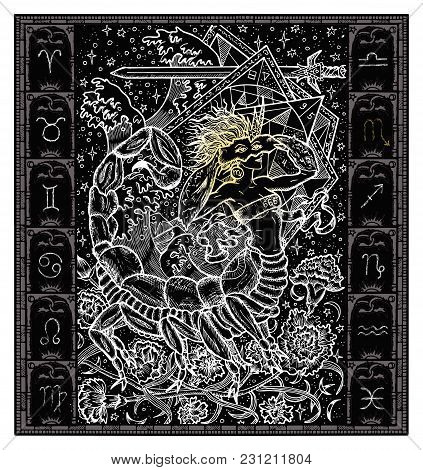 White Silhouette Of Fantasy Zodiac Sign Scorpio In Gothic Frame On Black. Hand Drawn Engraved Illust