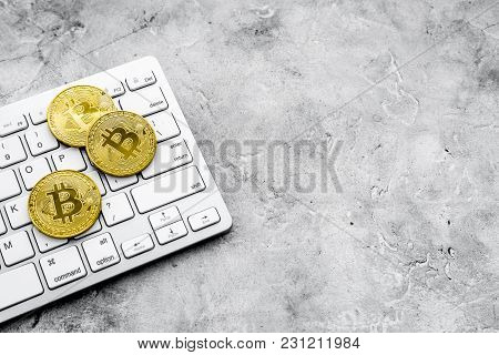 Bitcoin Digital Money For Finance And Online Buy Or Sell On Gray Stone Desk Background Mockup