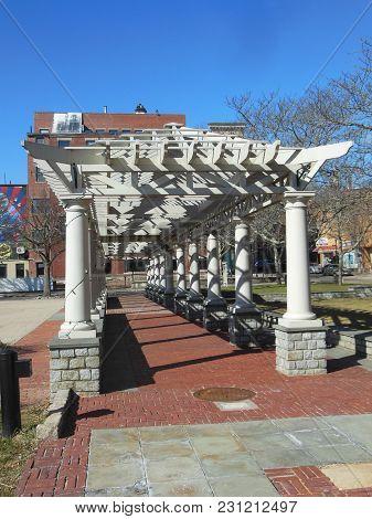 Walkway At Memorial Plaza In New Bedford, Massachusetts