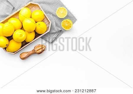 Healthy Sweet Curd Cooking With Lemons On Home Kitchen White Background Top View Mock Up