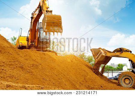 The Excavator Is Working Excavation Site Construction