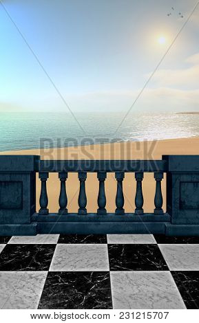 A Premade Background Of A Balcony Overlooking The Beach On A Hazey Day.