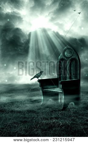 A Premade Background Of A Crow Sitting On A Rustic Chair In A Field.