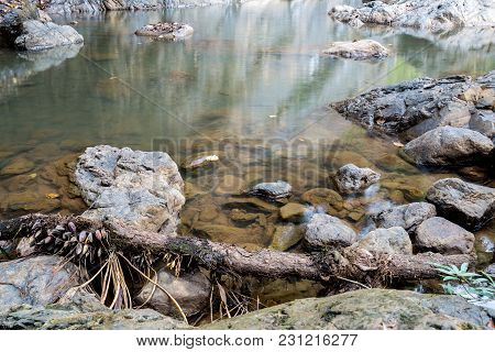 Pond Of Waterfall In The Forest With Rock In Background, Traveling In Thailand