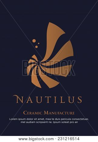 Vector Illustration With Seashell Nautilus. Object For Your Logo / Card / Flyer. Ceramic Manufacture