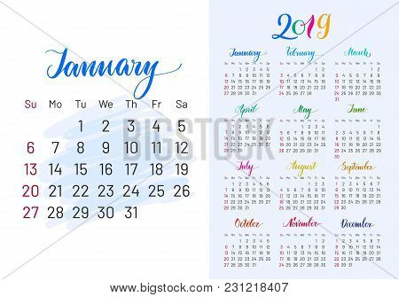Colorful Planner, 2019, January Separately, White-blue Background, Lettering, Artboard. Stylish Annu